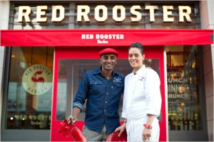 Marcus Samuelsson and his Executive Chef Andrea Bergquist in front of Red Rooster. Photo Courtesy of Daniel Krieger for The New York Times.